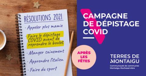 Visuel de la Campagne dépistage Covid-19 - Janvier 2021 - Terres de Montaigu